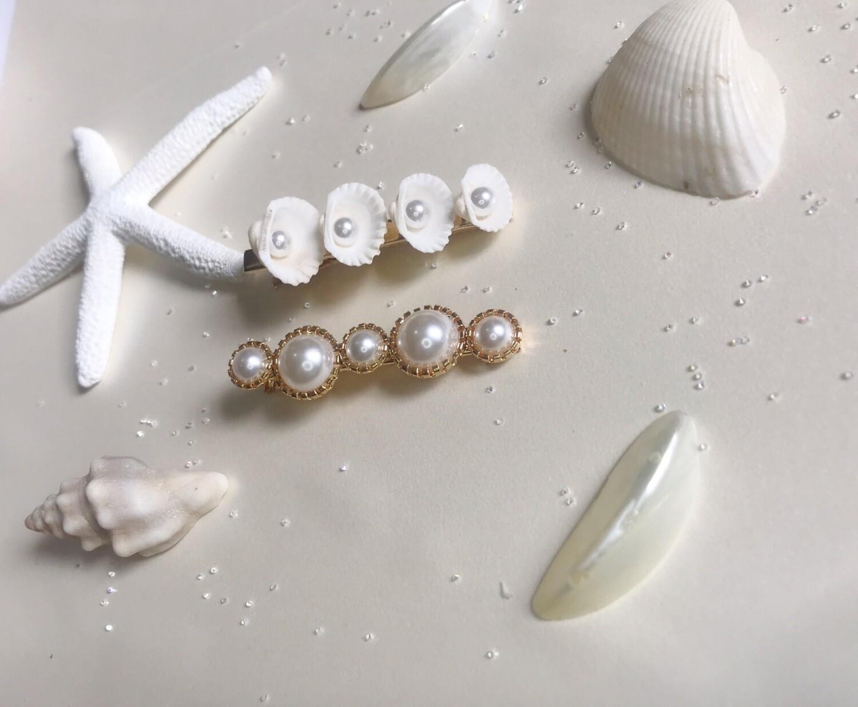 Σετ 2 τσιμπίδια μαλλιών με κοχύλια και πέρλες