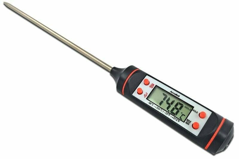Ψηφιακό θερμόμετρο κουζίνας ακριβείας με ανοξείδωτη ακίδα & οθόνη LCD
