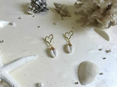 Σκουλαρίκια καρδιά με κοχύλι