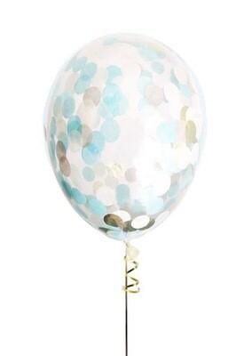 """Μπαλόνι latex με γαλάζιο και χρυσό κονφετί 13"""""""