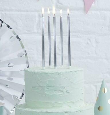 Κεριά γενεθλίων ασημί
