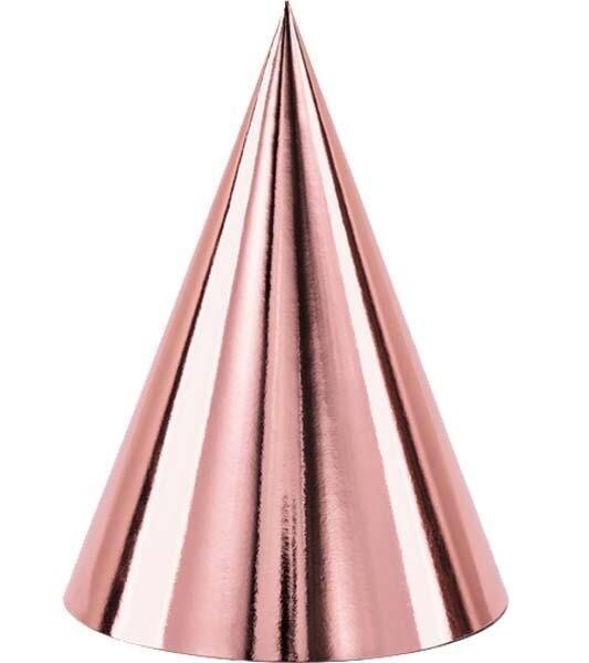 Χάρτινα καπέλα ροζ-χρυσά 6τμχ