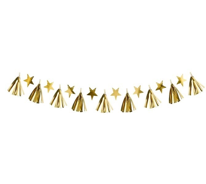 Διακοσμητική χάρτινη γιρλάντα με χρυσά αστέρια