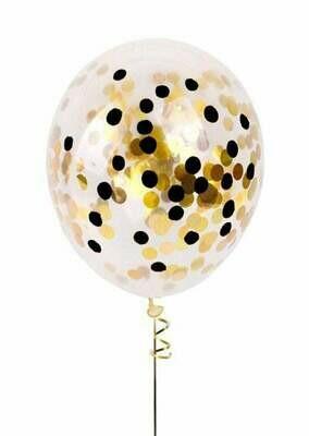 13″ Διάφανο μπαλόνι με Χρυσό & Μαύρο κονφετί