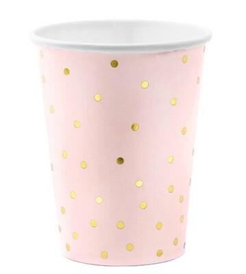 Ροζ ποτήρια με χρυσό πουά 6τμχ