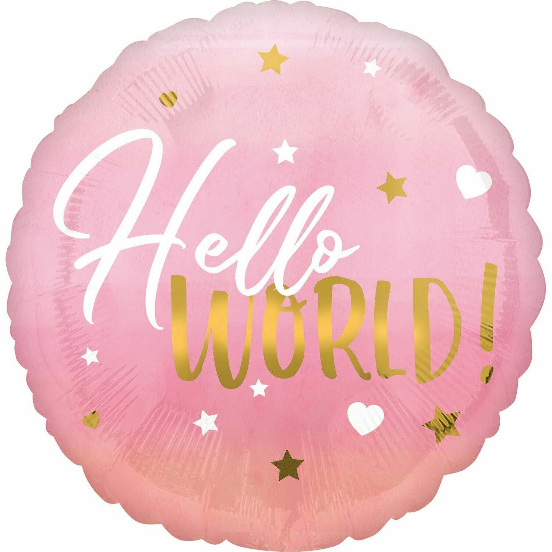 "Foil μπαλόνι HELLO WORLD 18"""