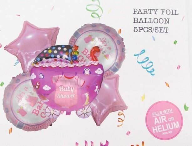 """Μεταλλιζέ μπαλόνια αέρα ή ηλίου """"Baby Shower Girl"""" 5 τεμάχια"""