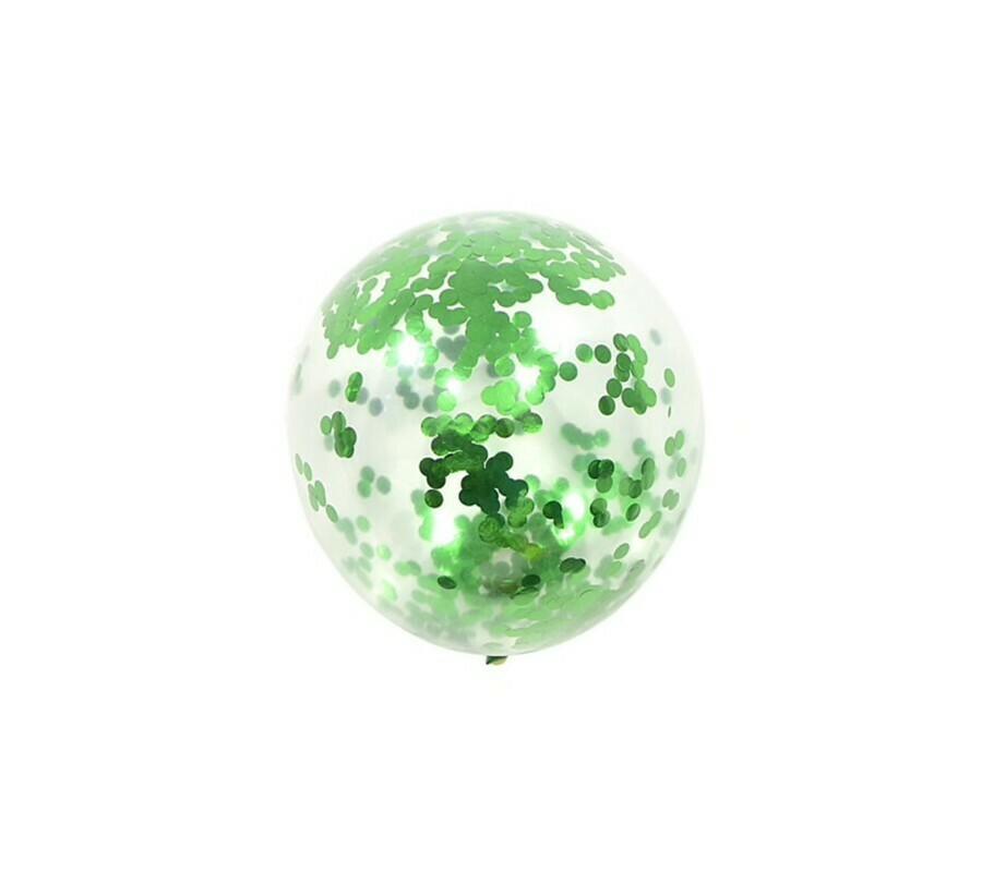 """Μπαλόνι latex με πράσινο κονφετί  12"""" 1τμχ"""