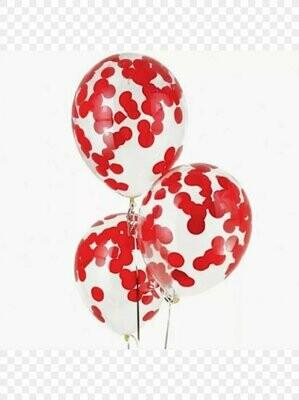 Μπαλόνι latex με κόκκινο κονφετί 12