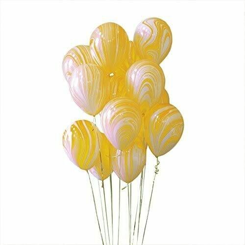 """Μπαλόνι marble κίτρινο 12"""" 1τμχ"""