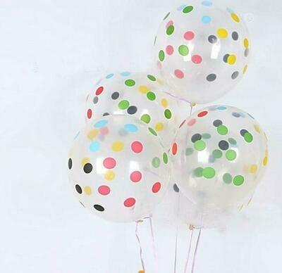 Διάφανο μπαλόνι πουά πολύχρωμο 1τμχ