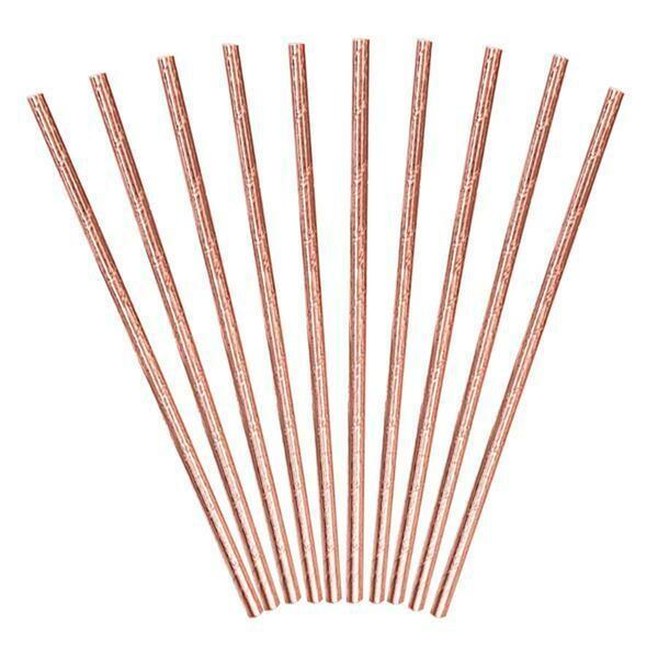 Καλαμάκια Ροζ - Χρυσό (10 τεμ)