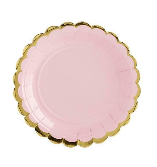 Πιάτα Ροζ με χρυσό περίγραμμα (6 τεμ)