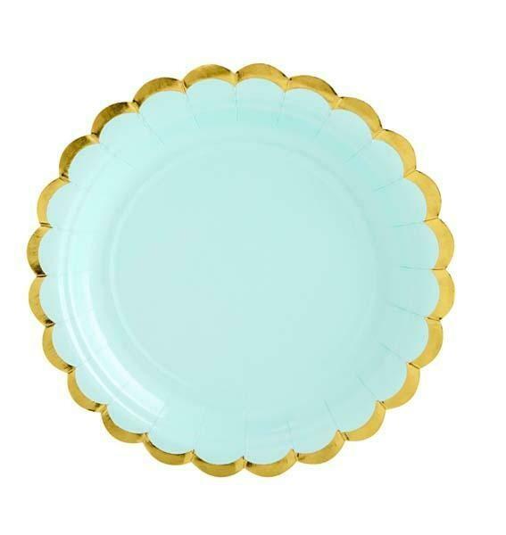 Πιάτα Mέντα με χρυσό περίγραμμα (6 τεμ)
