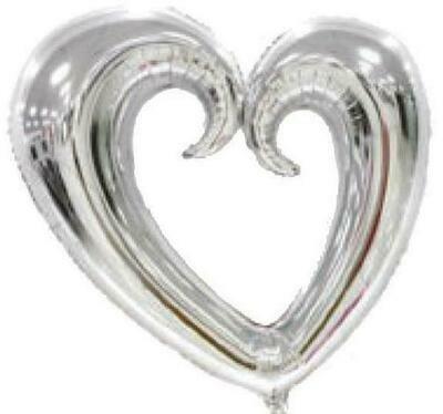 """30"""" Ασημί Καρδιά με τρύπα Foil Μπαλόνι"""