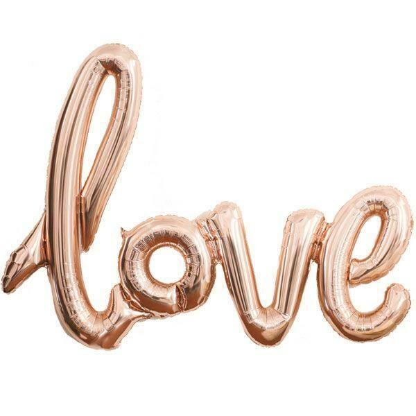 Super Shape 'Love' Rose- Silver Ενωμένη Φράση Foil Μπαλόνι