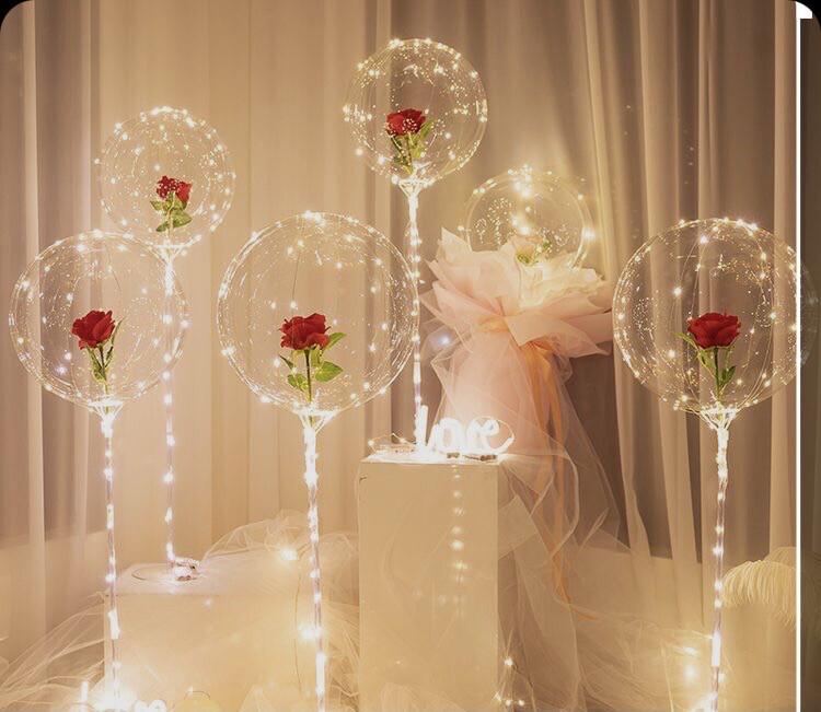 Μπαλόνι led με τριαντάφυλλο