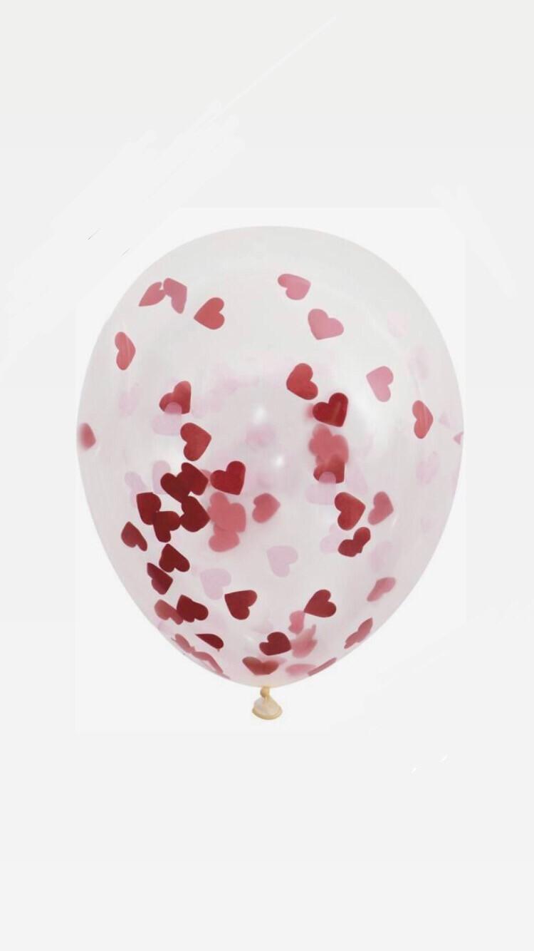 """Διάφανο μπαλόνι 12"""" με κονφετί καρδιά"""