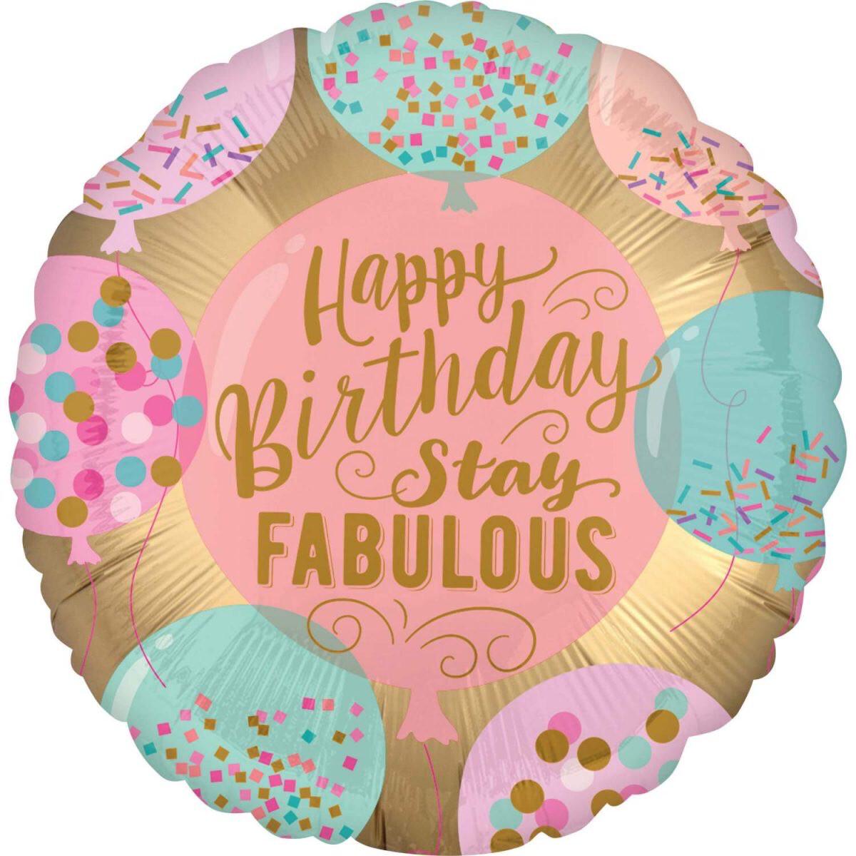"""Μπαλόνι Foil 18"""" Happy Birthday Stay Fabulous"""