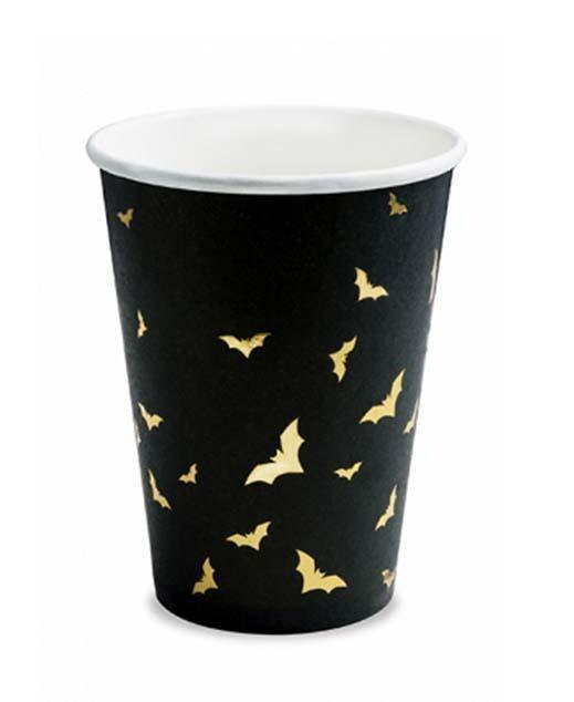 Ποτηράκια με χρυσές νυχτερίδες (6 pcs)