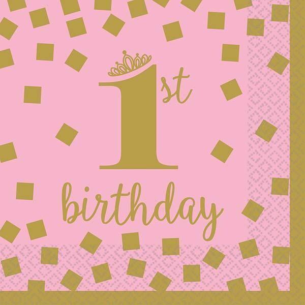 """Χαρτοπετσέτες μεγάλες Ροζ & Χρυσό """"1st Birthday"""" (16 τεμ)"""