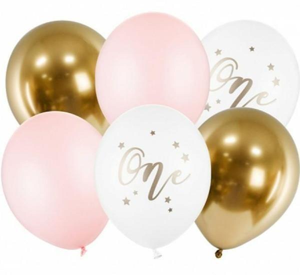 """Σετ μπαλόνια """"One"""" Παστέλ Ροζ (6 τεμ)"""