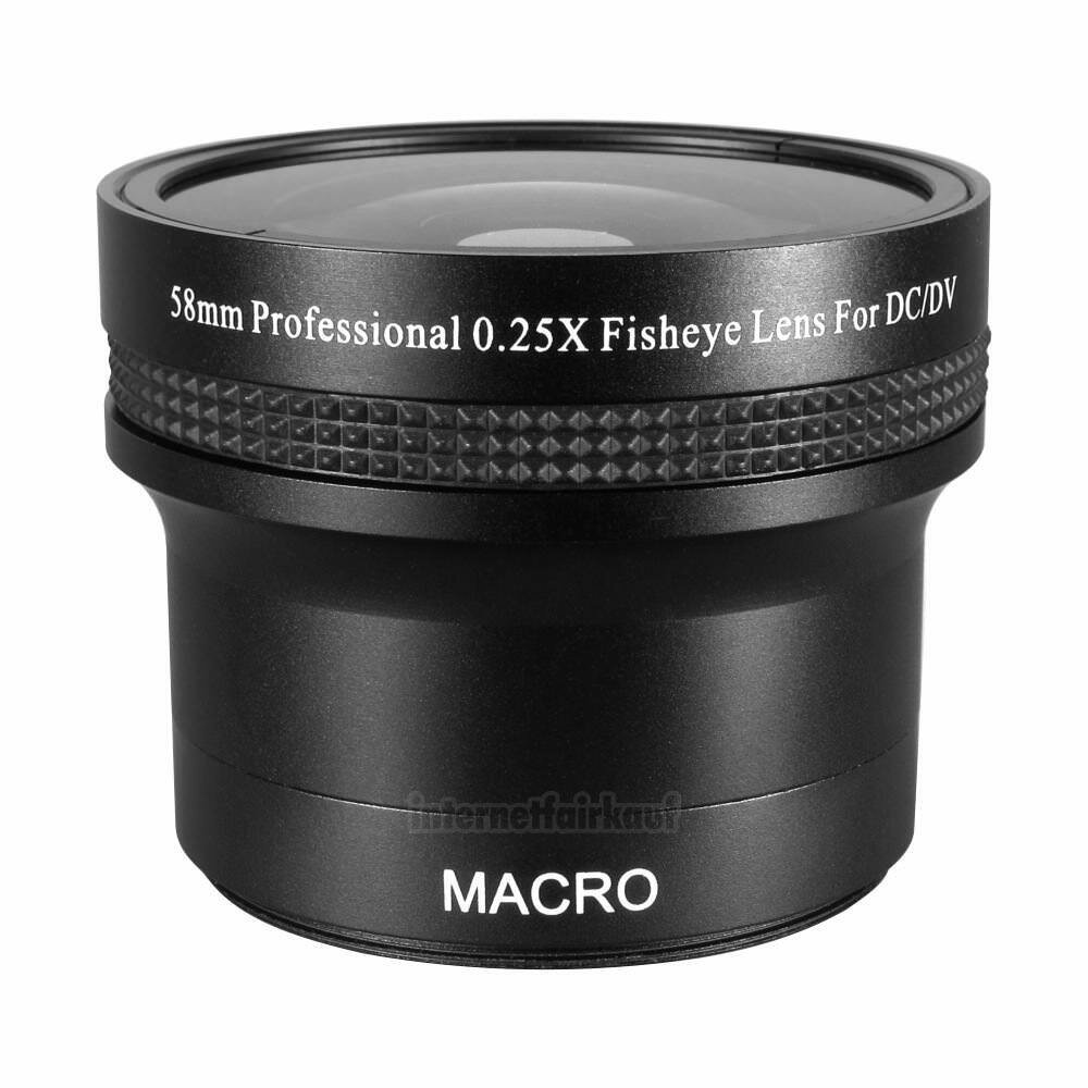 0.25x Fisheye Fischauge passend für Canon EOS 2000D 4000D 800D und 18-55 Obj.