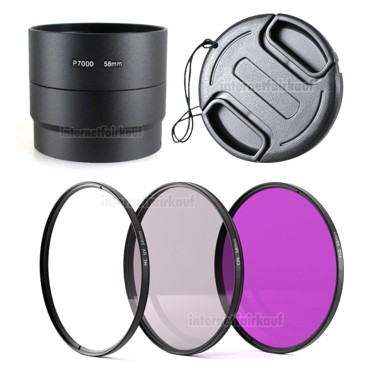 5-teiliges Zubehörset für Nikon Coolpix P7000 P7100, 58mm
