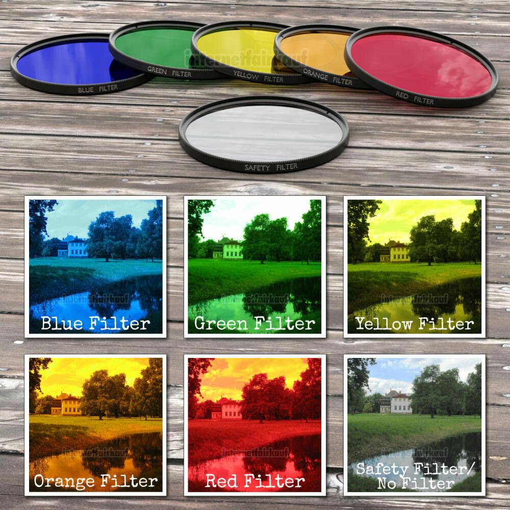 77mm Farbfilter Kreativ Set - Rot Orange Gelb Grün Blau + Klarglas-Schutz-Filter