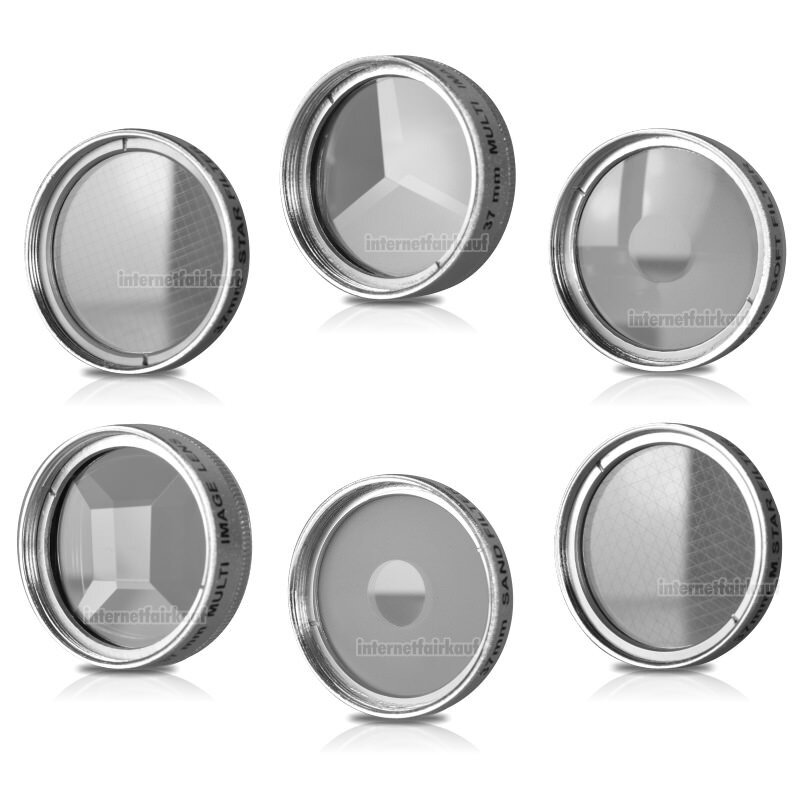 37mm 6-fach Set Spezial Effektfilter Effektlinsen silber