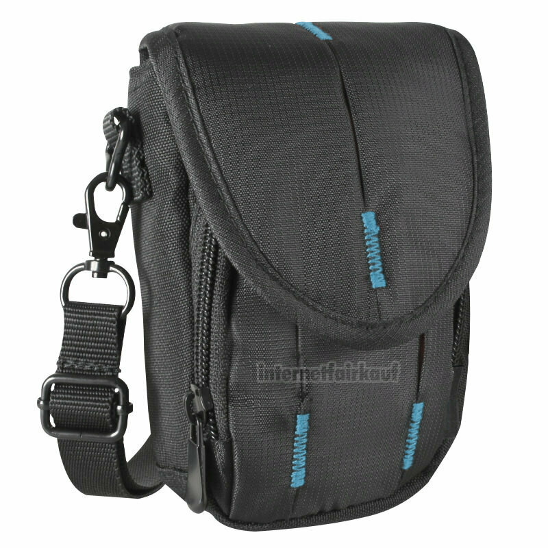 Fototasche schwarz/blau passend für Sony DSC-HX9V HX10V HX20V HX30V