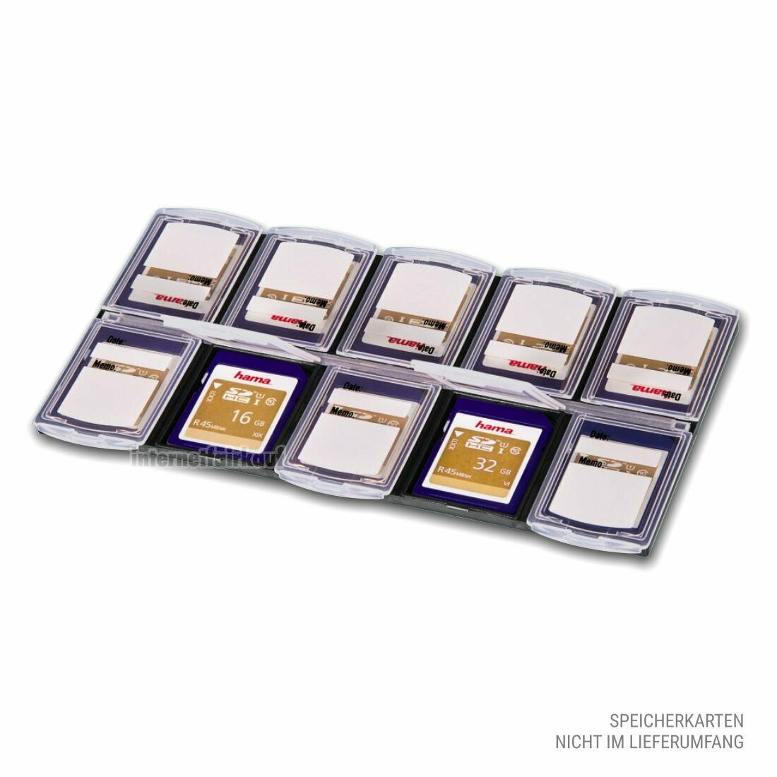Hama Speicherkarten-Box Organizer, Schwarz/Transparent
