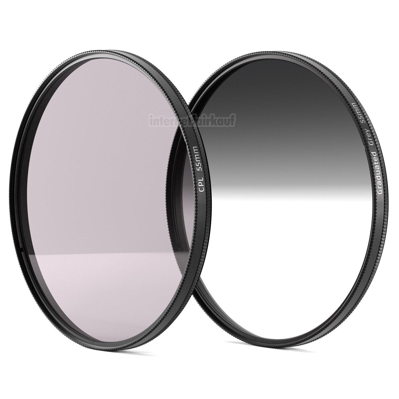 Polfilter Grauverlaufsfilter passend für Sony Alpha SLT A58 und 18-55mm Obj.