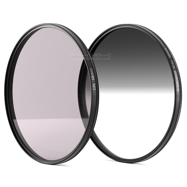 POL + Grauverlaufsfilter passend für Canon EOS 70D 80D 750D 1300D und 18-55 Obj