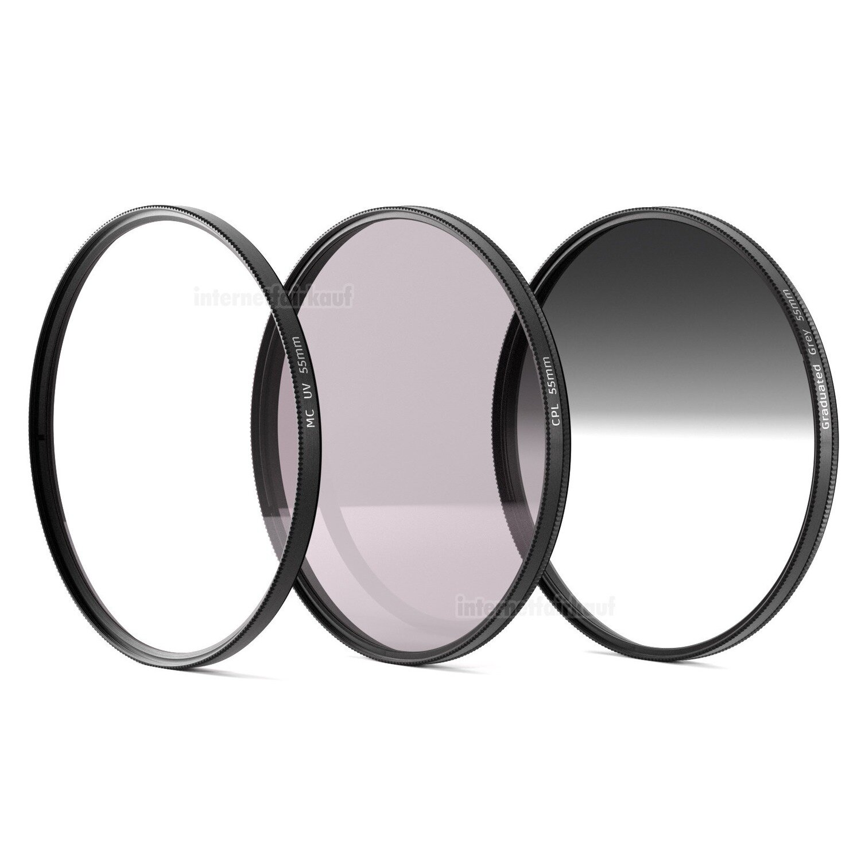 UV + POL + Grauverlaufsfilter passend für Sony Alpha SLT A58 und 18-55 Objektiv