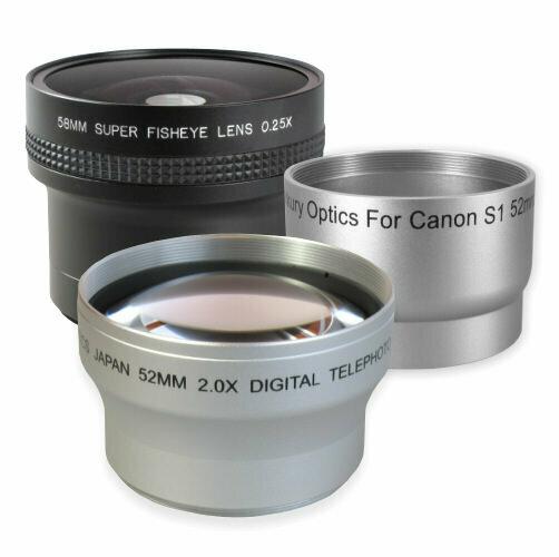 Konverter Set Weitwinkel + Tele + Adapter passend für Canon PowerShot S1 IS