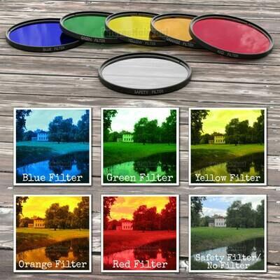 43mm Farbfilter Kreativ Set - Rot Orange Gelb Grün Blau + Klarglas-Schutz-Filter