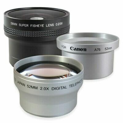 Set Weitwinkel + Tele + Adapter passend für Canon PowerShot A60 A70 A75 A85
