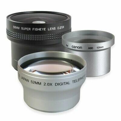 Set Weitwinkel + Tele + Adapter passend für Canon PowerShot A80 A95