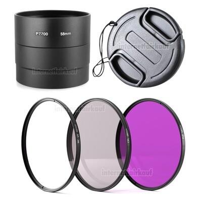 5-teiliges Zubehörset für Nikon Coolpix P7700 P7800, 58mm