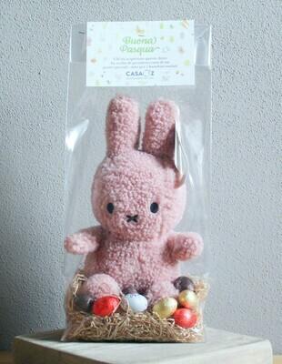 Coniglietto Teddy rosa con mix ovetti Guido Gobino