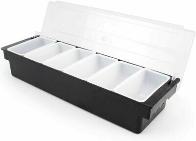 Bar Top Food & Condiment Dispenser - 6 Tray Plastic Garnish Station with Lid for Bartending & Serving.