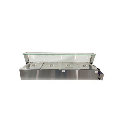 Bain Marie 4 Pans with Glass - Table Top