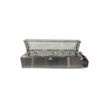 Bain Marie 3 Pans with Glass - Table Top