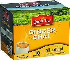 QUIK TEA GINGER CHAI 10 POUCHES
