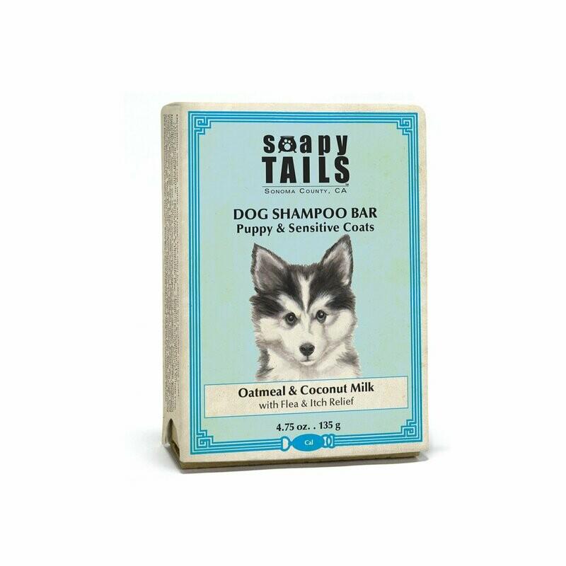 Soapy Tails Shampoo Soap Puppy Coat Dog Oatmeal & Coconut Milk 4.75 oz.