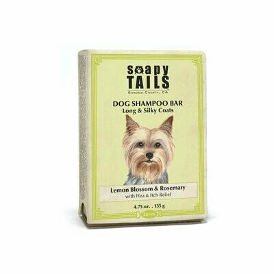 Soapy Tails Shampoo Bar Long & SIlky Coats Lemon Blossom & Rosemary 4.75 oz.