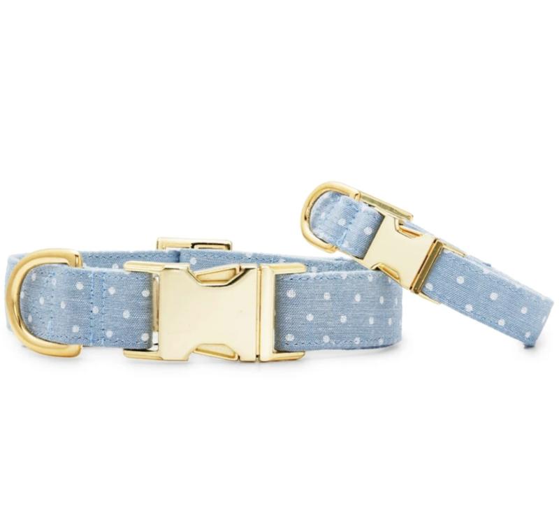 Chambray Dots Dog Collar Foggy Dog