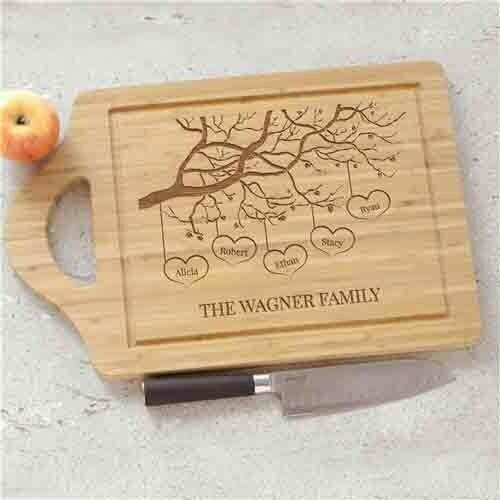Custom Wood Cutting Board - Engraved Family Tree