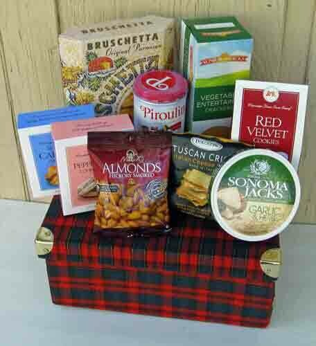 Plaid Gift Box filled with gourmet foods
